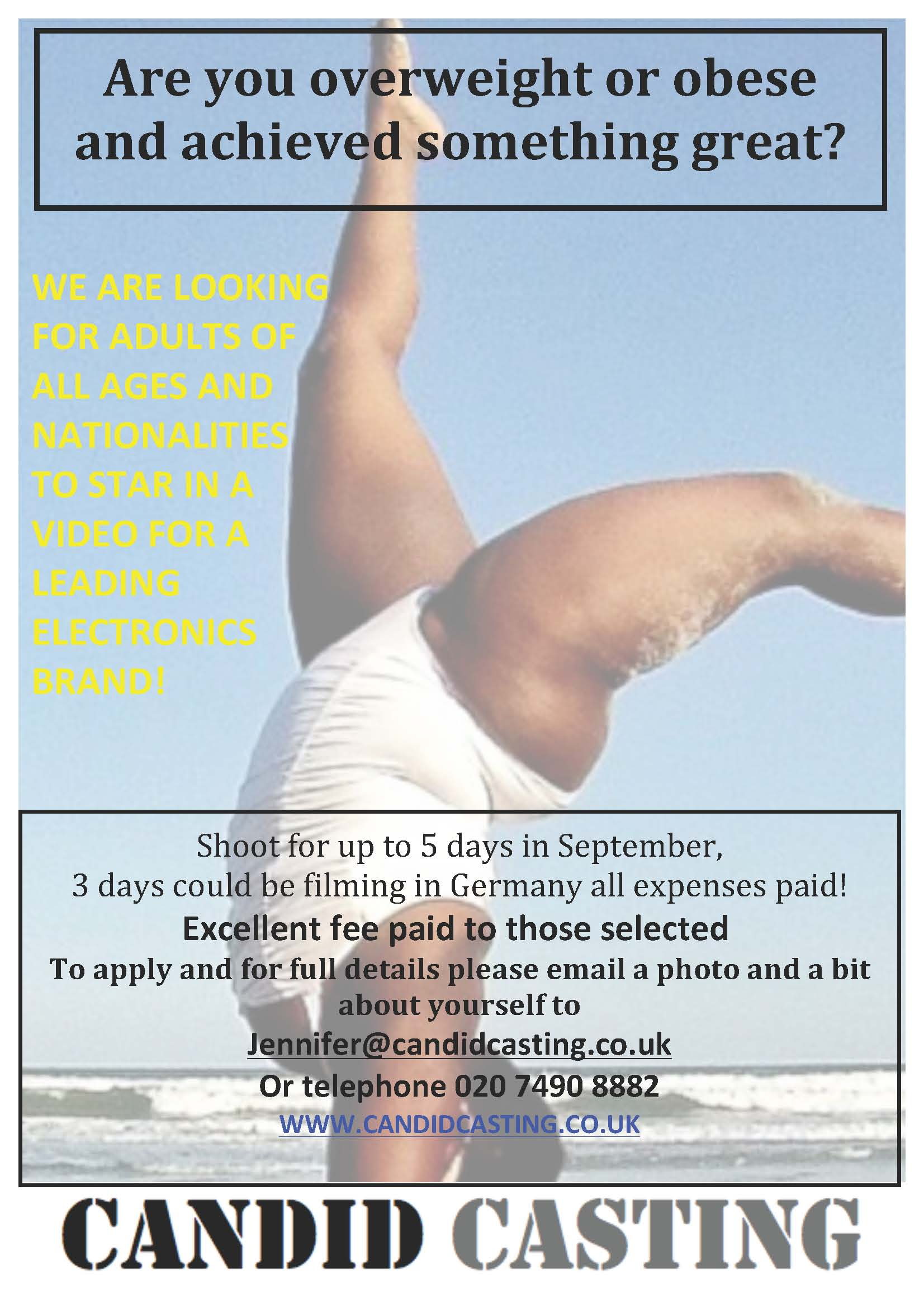 national obesity forum casting calls looking for obese adults to star in electronics video